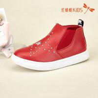 红蜻蜓童鞋皮面柳钉复古经典单色百搭儿童休闲鞋