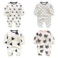 婴儿连体衣服0岁2个月宝宝5新生儿冬装冬季衣可爱哈衣加厚