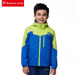 探路者童装 男女童户外拼色印花三合一套绒冲锋服
