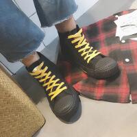 CUM秋季男鞋高帮帆布鞋男百搭休闲鞋子黑色板鞋学生布鞋男士潮鞋