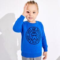 小猪班纳童装男宝宝加绒毛衣冬装新款小童加厚针织衫男童套头毛衫