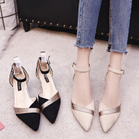 凉鞋女春夏季包头高跟鞋一字扣带尖头鞋细跟中跟女鞋