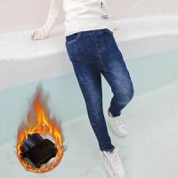 女童加绒牛仔裤冬装韩版洋气大儿童秋冬季休闲宽松长裤子