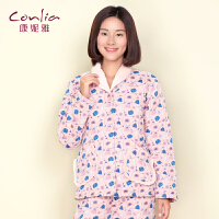 康妮雅冬季新款夹棉家居服 女士甜美荷叶边长袖睡衣套装