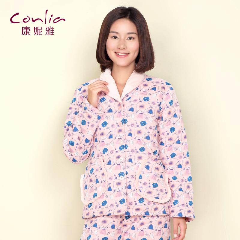 康妮雅冬季新款夹棉家居服 女士甜美荷叶边长袖睡衣套装先领卷后购物 满399减50