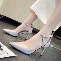 户外法式少女高跟鞋凉鞋女鞋尖头细跟仙女风配裙子的鞋