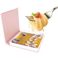 结婚礼物 礼品餐具筷子勺子叉子陶瓷不锈钢组合圆筷骨瓷筷便携方便餐具红玫瑰骨瓷勺筷套装礼盒10件套