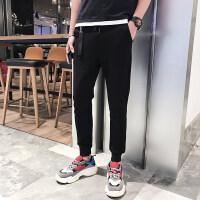 哈伦裤男2018春季男士小脚卫裤韩版潮流条纹运动裤男束脚裤九分裤 KP1827黑色