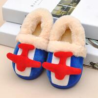 可爱飞机棉拖鞋包跟男童小孩1-7岁女宝宝毛毛居家居棉鞋冬季