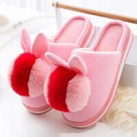 家居家用棉拖鞋女 可爱厚底防滑保暖月子鞋室内毛毛拖鞋