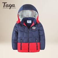 TAGA童装男童羽绒服中大童学生 冬装新款儿童羽绒连帽外套