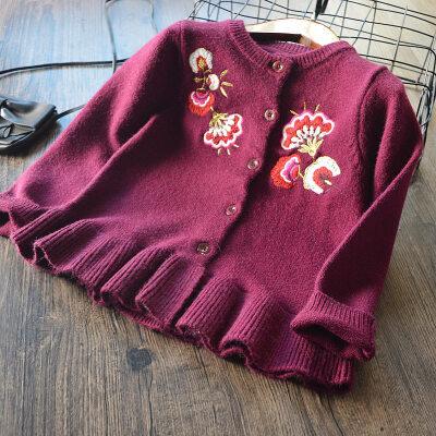 童装女童刺绣花朵毛衣开衫2018春季新款欧美童装儿童针织外套 发货周期:一般在付款后2-90天左右发货,具体发货时间请以与客服协商的时间为准