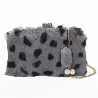 兔毛毛包包女新款秋冬季皮草豹纹时尚链条单肩斜挎手拿小包
