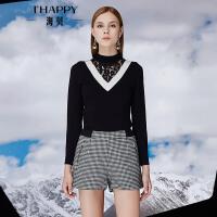 【2件5折】【10.18上新】海贝2016年冬季新款女 蕾丝拼接V领长袖套头毛衫