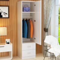 实木衣柜简易多功能卧室整体衣柜组装木质收纳衣柜子衣橱 单门