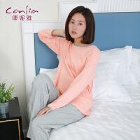 康妮雅春秋睡衣 薄款女士简约棉质睡衣套装