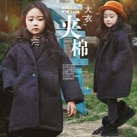 女童毛呢外套2017新款秋冬装韩版中大童儿童夹棉加厚呢子女孩大衣