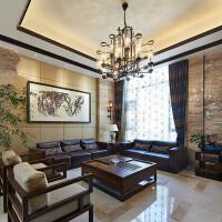新中式实木沙发现代中式别墅样板房客厅雕花真皮沙发组合家具定制 其他