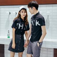 夏季情侣装2018新款字母印花男女士短袖衬衫韩版修身餐厅员工服潮