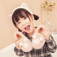 室内棉拖鞋冬季男童女童小孩宝宝防滑可爱保暖毛绒包跟居家鞋