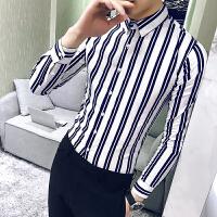 2018春季长袖衬衫男韩版修身发型师个性条纹衬衣夜店青年潮流衬衫