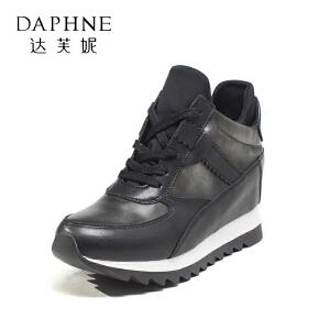 Daphne/达芙妮秋款时尚系带拼色皮质坡跟内增高单鞋女