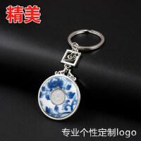中国风特色青花瓷钥匙扣 国色牡丹创意礼物文化礼品书签定制logo