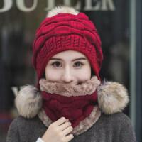 女士大毛球时尚套帽 百搭保暖护耳毛线帽潮 韩版可爱兔毛加绒帽子女