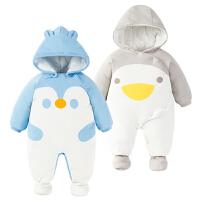 婴儿连体衣服0岁3个月6宝宝新生儿冬装冬季棉衣哈衣季装