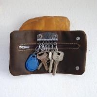 真皮大容量多功能钥匙包复古皮女士零钱包牛皮男士锁匙包 咖啡色