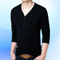 18春装男装加肥加大码长袖T恤肥佬V领宽松体恤胖人特大码打底衫棉