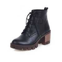 ELEISE美国艾蕾莎新品秋冬150-D-5韩版超纤皮粗跟高跟女士女靴短靴