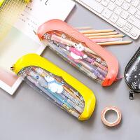 韩国创意笔袋少女心ins 学生大容量可爱企鹅收纳铅笔袋卡通文具袋