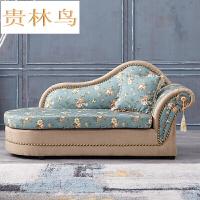 欧式碎花布艺沙发 地中海田园贵妃椅 小户型躺椅韩式太妃椅Y