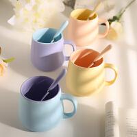 北欧马克杯带勺 创意简约撞色咖啡杯陶瓷水杯子哑光牛奶杯小清新