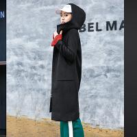 羊毛呢外套女中长款韩版宽松2018新款冬装加厚潮连帽反季呢子大衣
