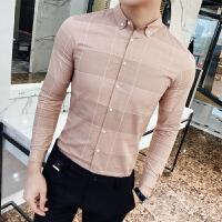 2018春长袖衬衫男士韩版修身夜店青年个性潮流衬衣发型师格子衬衫