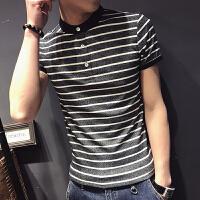 帅中性小码条纹半扣圆领POLO衫男短袖T恤修身XS小个子