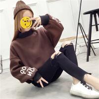 新款半高领加绒厚卫衣女长袖套头学生字母外套韩版秋冬装