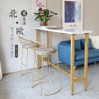 北欧吧台桌家用靠墙桌子简约高脚桌咖啡奶茶小吧桌大理石长条吧台 组装 支架结构