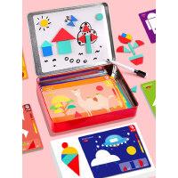 磁性拼图儿童益智女孩七巧板教具学生用智力木质玩具6男孩3-4-5岁