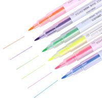 得力荧光笔6支装双头双色荧光笔 水性记号笔 S627 学生文具