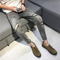 春夏款男装牛仔裤 复古做旧灰色潮流破洞小脚裤修身显瘦九分裤