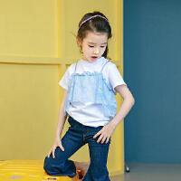 小女孩短袖t恤夏装女童假两件蕾丝吊带衫韩版中大童夏季公主上衣