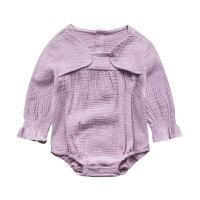 婴儿连体衣服宝宝新生儿0春季长袖三角3个月春款外出衣服