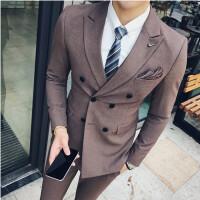 双排扣小西服套装男士英伦修身西装三件套男休闲结婚礼服