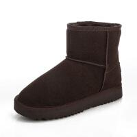 冬季加绒保暖女雪地靴子 厚底短靴女 平底圆头学生女鞋棉靴