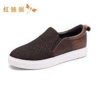 红蜻蜓女鞋秋季休闲鞋韩版运动板鞋休闲一脚蹬鞋单鞋-