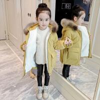 韩版洋气真毛领棉衣女童中长款儿童加厚加绒保暖棉袄