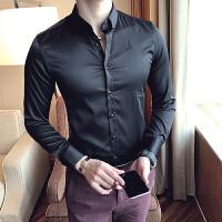 新款时尚秋装免烫长袖衬衫男士伴郎新郎发型师夜场修身衬衣青年潮